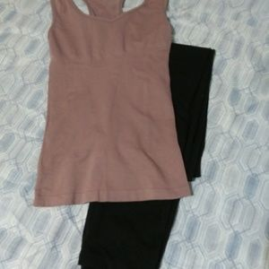 Body slimming tanks and black leggings